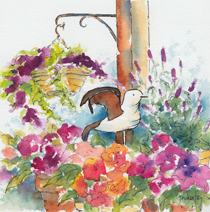 Bird In The Begonias-w