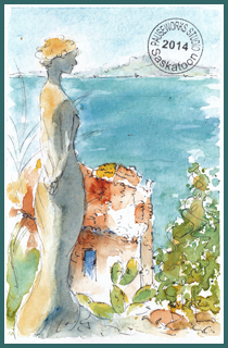 Gazing Out To Sea-Eze Godess PW Postcard-w