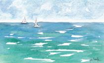 Sails At Sea-w